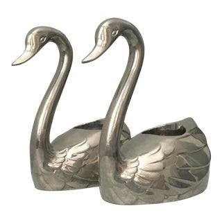 1970s Godinger of China Silver Plated Swan Candle Holders - a Pair For Sale