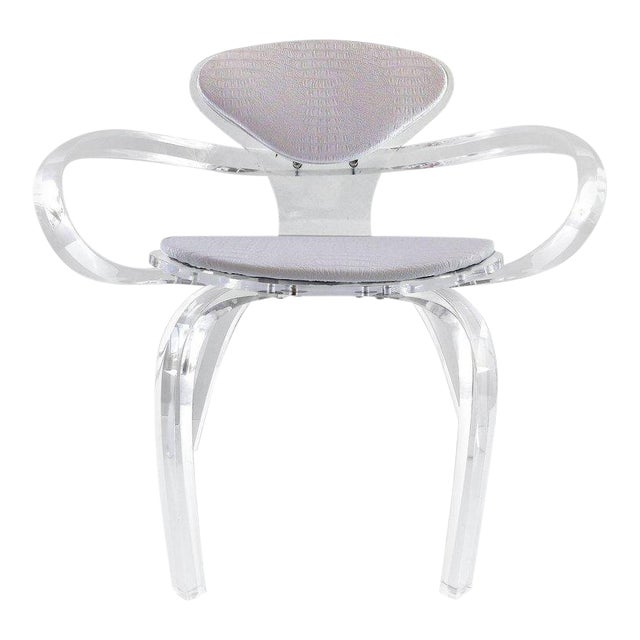 Custom-Made Lucite Pretzel Chair Inspired by the Norman Cherner Classic For Sale