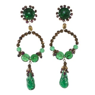 "Louis Rousselet 4"" Long Dangle Earrings Vintage Green Glass French Designer Couture For Sale"