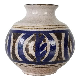 Mid-Century Stoneware Pottery Vase For Sale