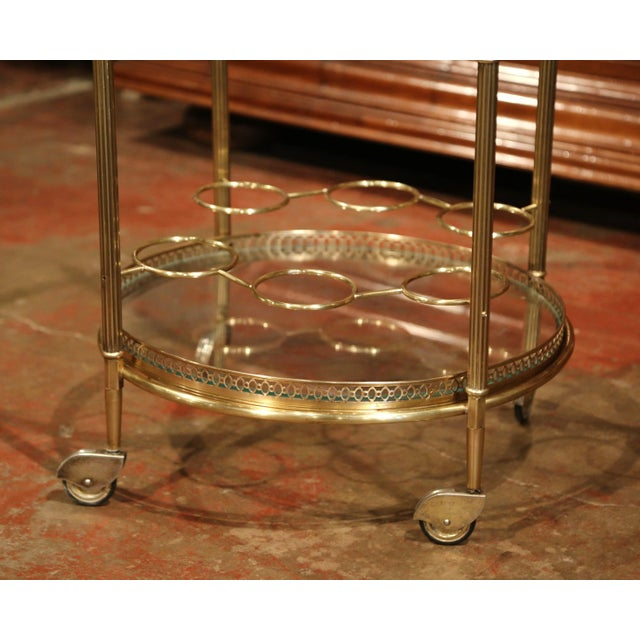 Early 20th Century French Two-Tier Brass Desert Table or Tea Cart on Wheels - Image 4 of 9
