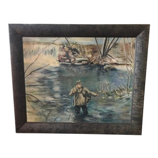 """""""Fly Fishing - the Millstream"""" Is an Oil on Board Done in the 1950's by American Artist by Lillian Tate. For Sale"""