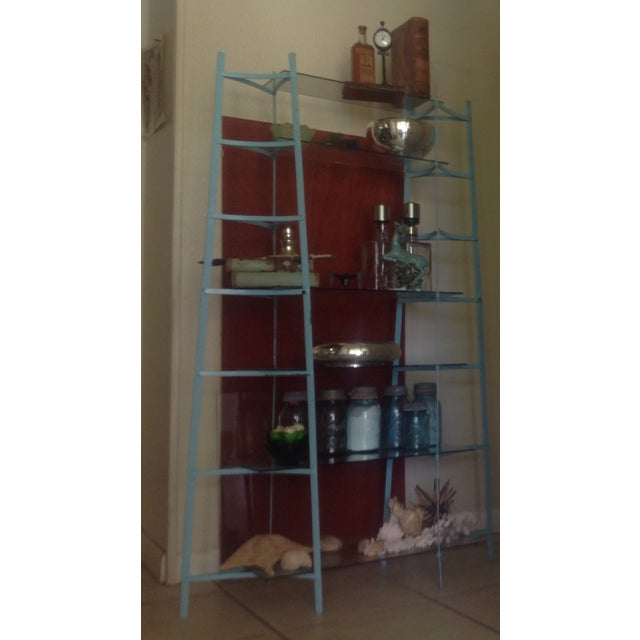 Mid-Century Industrial Metal Glass Shelving Unit - Image 9 of 10