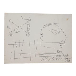 Haku Shah (India, 1934-2019) Original Pen & Ink Drawing for Ray (Eames) C.1968 For Sale