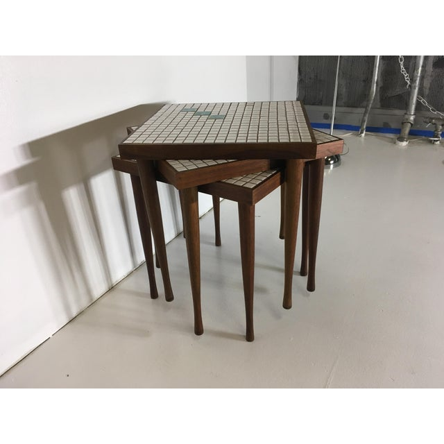 Mid-Century Tile Top Walnut Stacking Tables - Image 6 of 10