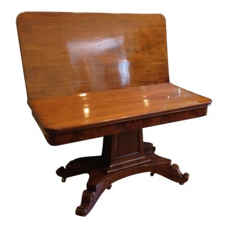 Empire Burl Mahogany Swivel Top Game Table For Sale