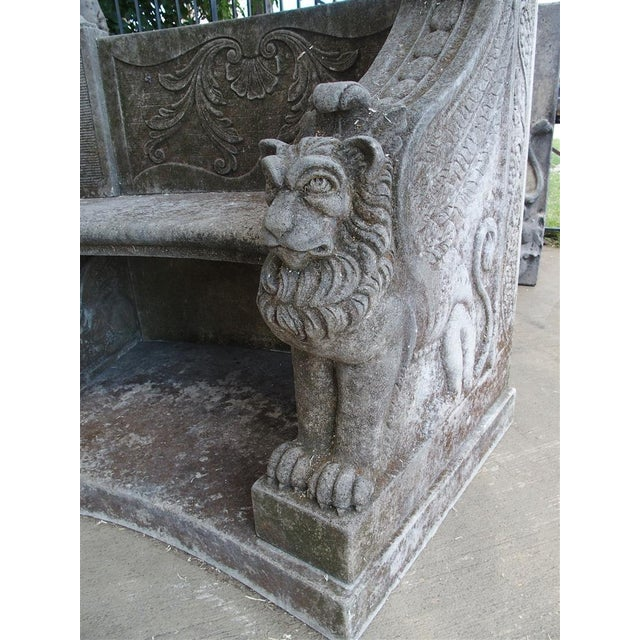 A Large Semi Circular Carved Limestone Griffins Bench - Image 4 of 11
