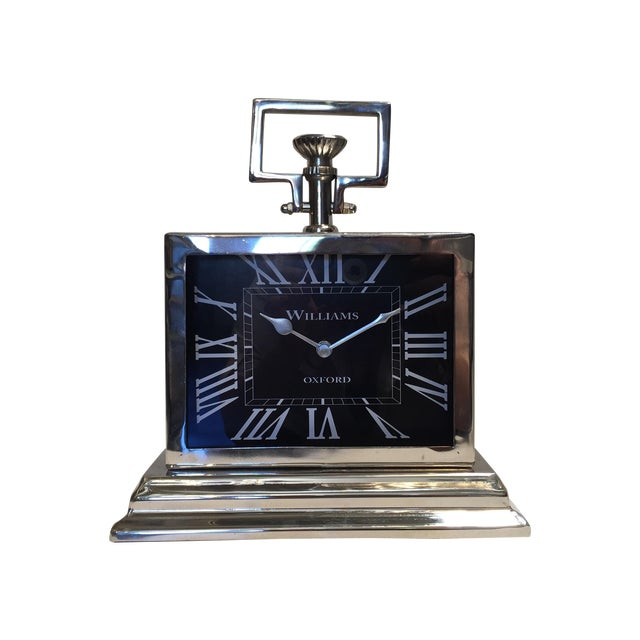 Black Rectangular Chrome Mantle Clock For Sale