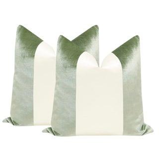 "22"" Pistachio Velvet & Alabaster Silk Panel Pillows - a Pair"