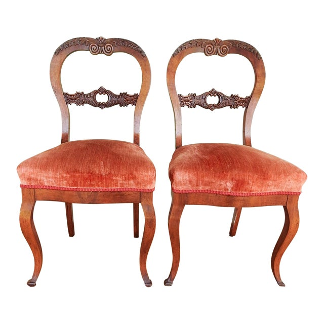 Antique Walnut Hand Carved Velvet Side Chairs - a Pair For Sale