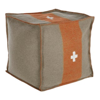 "Swiss Army Pouf, 24""X24""X24"", Grey/Orange For Sale"