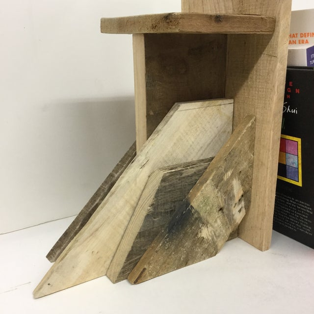 Rustic Industrial Wood Bookend & Display Shelf For Sale - Image 4 of 11