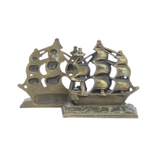 Vintage Bronze Nautical Sailboat Bookends - a Pair For Sale