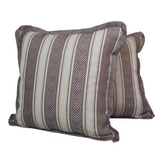 Custom Made Linen Stripe Fabric Throw Pillows- a Pair For Sale