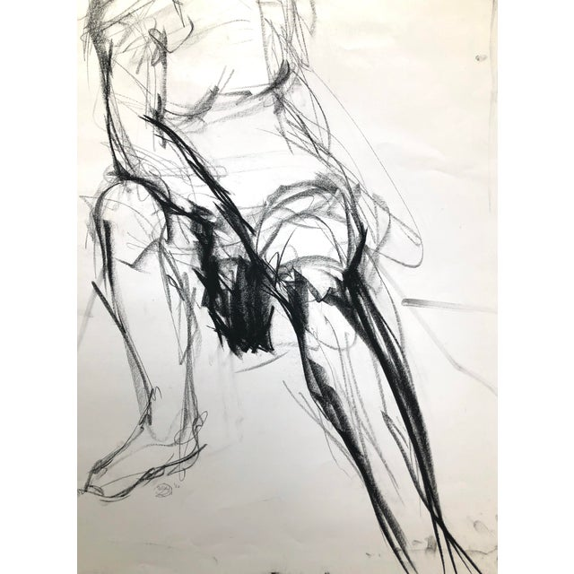 """Paper """"Seated Shifting Figure"""", by Artist David O. Smith - Scale Contemporary Figure Drawing in Charcoal For Sale - Image 7 of 12"""