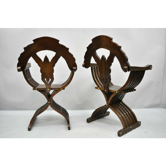 19th Century Mother of Pearl Inlay Syrian Savonarola Curule Throne Arm Chairs- A Pair For Sale - Image 11 of 12