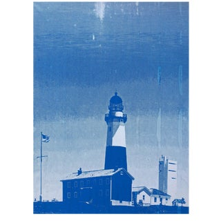 Montauk Lighthouse Blue Painting For Sale