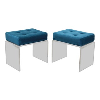 Modern Teal Waterfall Acrylic & Velvet Benches- a Pair For Sale