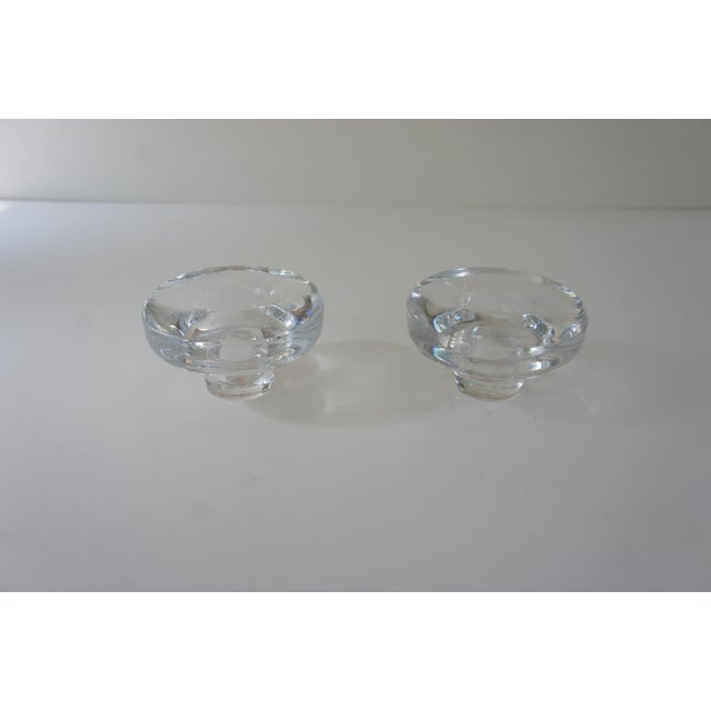 1970s Vintage Mid Century Modern Dansk Lead Crystal Votive and Taper Candle Holders - a Pair For Sale - Image 5 of 9