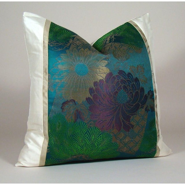 Fashioned from a spectacular antique Japanese silk obi sash, this limited-edition pillow cover features a lush arrangement...