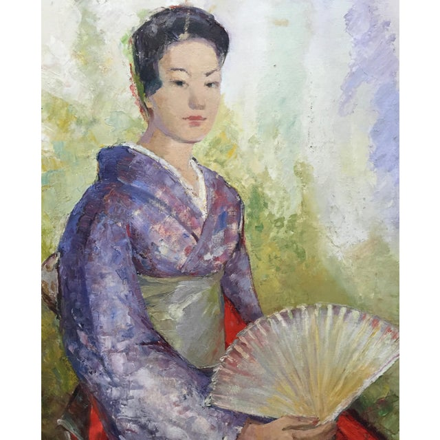 1950's Oil Painting Japanese Woman With Fan For Sale