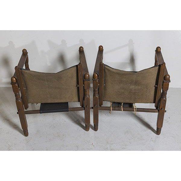 Brown Danish Modern Arne Norell Style Safari Chairs, a Pair For Sale - Image 8 of 9