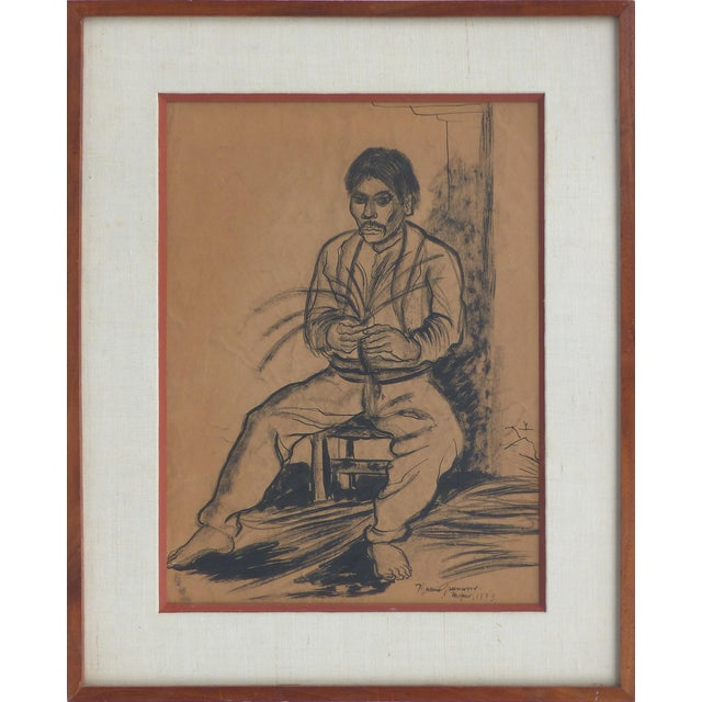 Charcoal on Paper by American Artist Marion Greenwood, Signed ,1933, Mexico For Sale