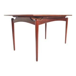 Danish Modern Teak Finn Juhl Style Draw Leaf Dining Table For Sale