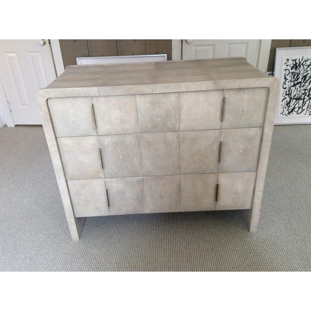 Tan R & Y Augousti Natural Shagreen 3-Drawer Commode For Sale - Image 8 of 8