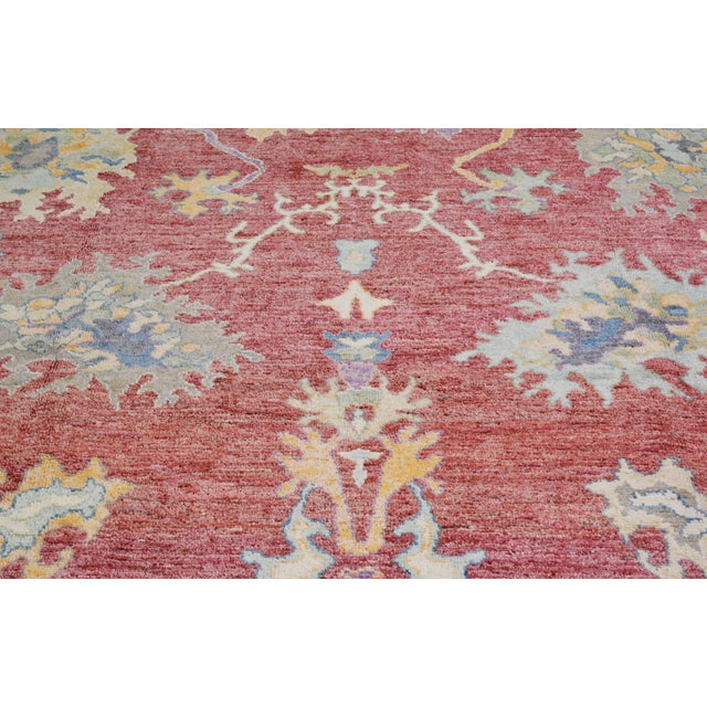 """Shabby Chic Vintage Turkish Hand Woven Silky Soft Wool Oushak Rug,10'x13'4"""" For Sale - Image 3 of 7"""