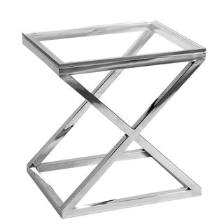 Criss Cross Glass Side Table For Sale