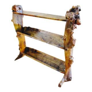 Slab Wood Tree Trunk Live Edge Bookcase Rough Hewn Shelf Shelves For Sale