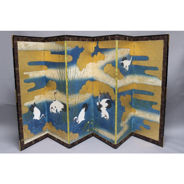 Six Panel Blue and Gold Crane Scene Japanese Screen For Sale - Image 4 of 7