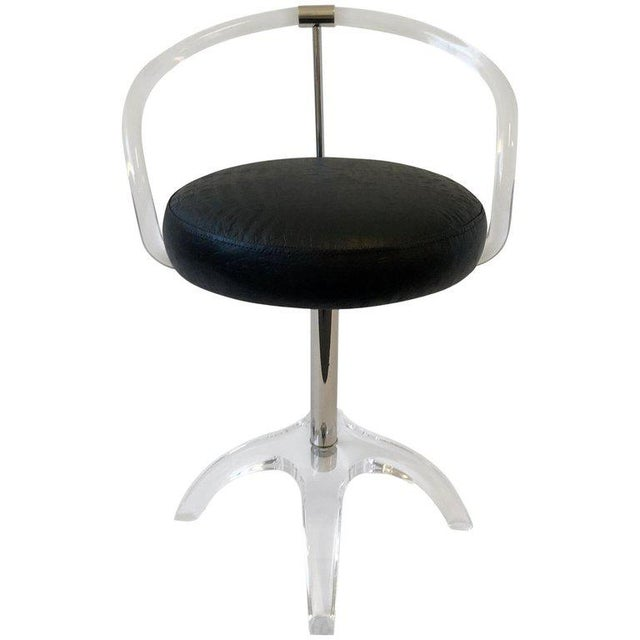 Polish Nickel and Lucite Swivel Vanity Stool by Charles Hollis Jones For Sale - Image 9 of 9