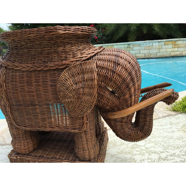 Vintage Wicker Rattan Elephant Plant Stand Table For Sale - Image 4 of 6