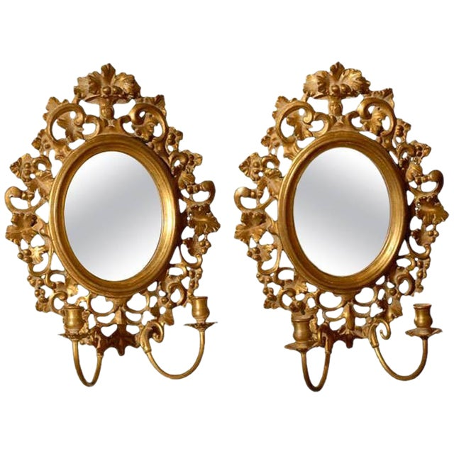 Vintage Italian Mirrored Candle Sconces - a Pair For Sale