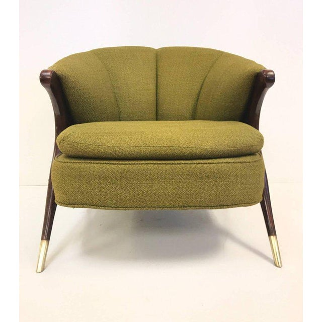Pair, Karpen of California Mid-Century Modern lounge chairs. Chairs have solid walnut frames with brass sabots.