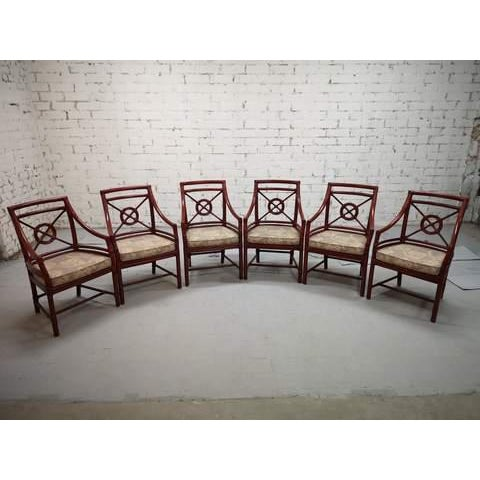 Set of 6 Italian Mid Century Red Bamboo Chippendale Lounge Dining Chairs For Sale - Image 10 of 13