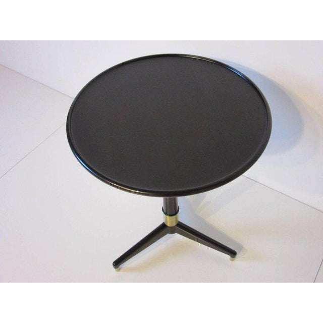 1950s Ebony Finished with Brass Tri Pod Based Midcentury Side Table For Sale - Image 5 of 9