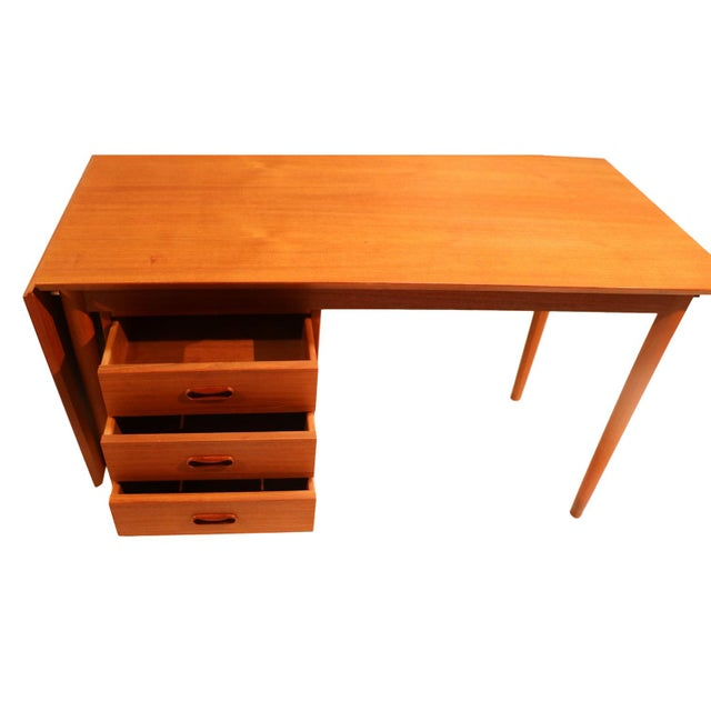 Arne Vodder Mid-Century Danish Teak Drop Leaf Desk - Image 6 of 10