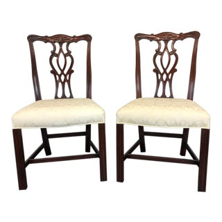 Mahogany Chippendale Straight Leg Dining Side Chairs by Hickory - Pair 2 For Sale