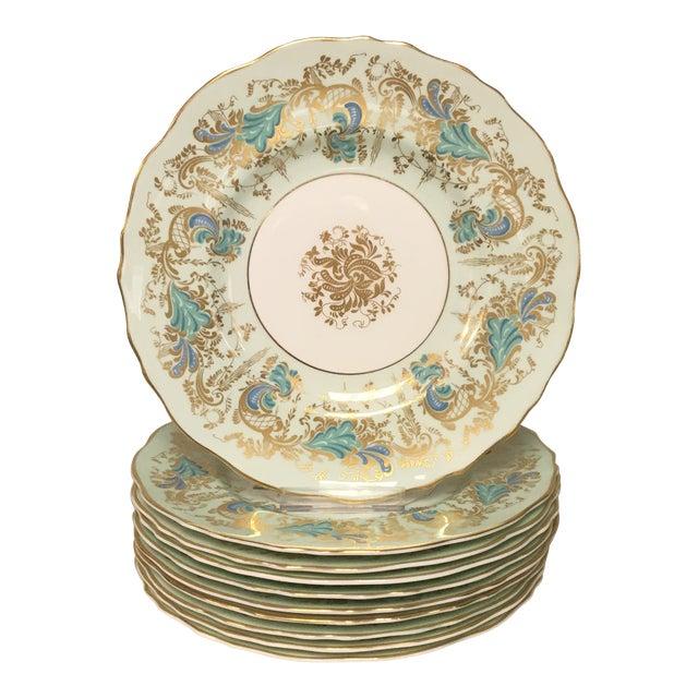 Royal Cauldon Gainsborough Teal Green Salad Dessert Plates Set 10 For Sale