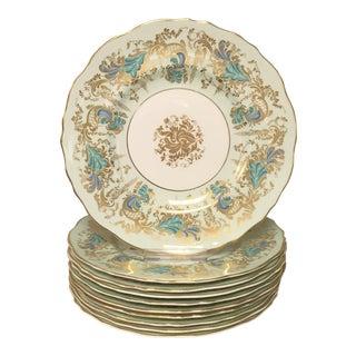 Royal Cauldon Gainsborough Teal Green Salas Dessert Plates Set 10 For Sale