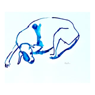 Contemporary Drawing, Blue Dog For Sale