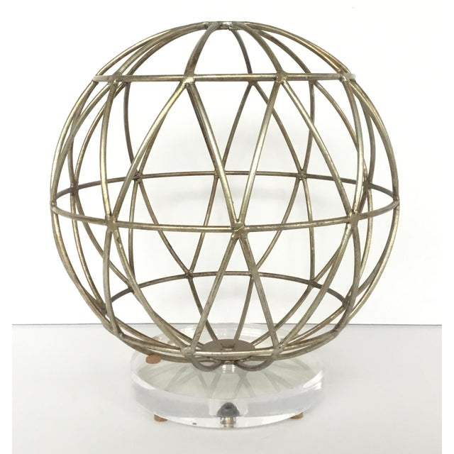 2010s Modern Geometric Silver Finished Metal Sphere Sculpture on Acrylic For Sale - Image 5 of 5