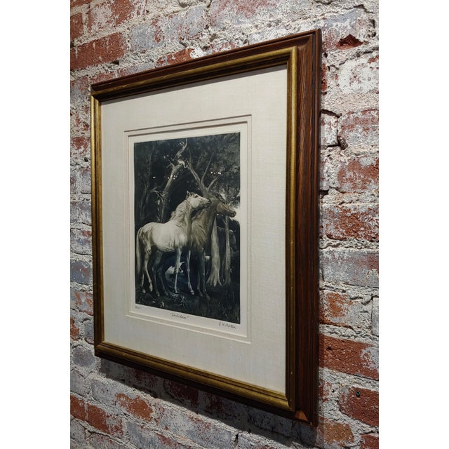 Gray g.h. Rothe - Pair of Horses in Love - Beautiful Color Mezzotint -Pencil Signed For Sale - Image 8 of 10