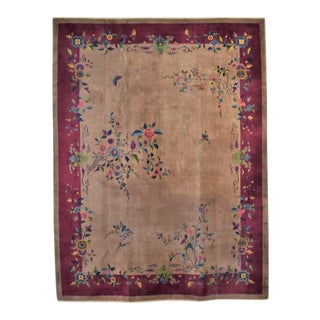 "Antique Chinese Art Deco Wool Handmade Rug Taupe With Magenta Border 8'8""x11'4.5"" For Sale"