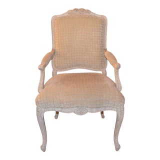 1930s Antique Victorian Hand Carved Stucco Finish Aged Wood Arm Chair For Sale