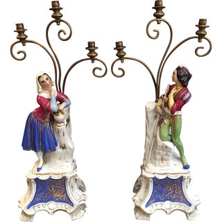 19th Century French Old Paris Porcelain Figural Candelabra - A Pair