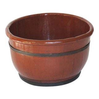Red Lacquer Wooden Bucket For Sale